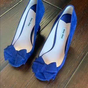 Miu Miu Peep Toe Blue Suede Shoes